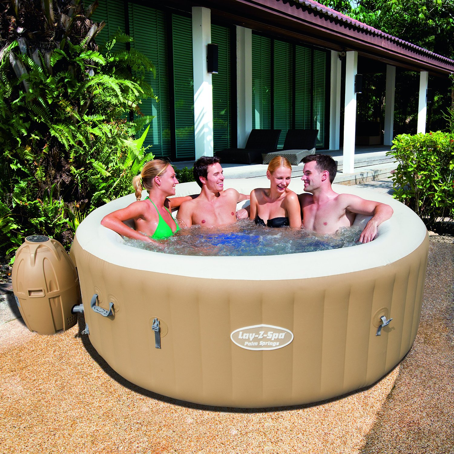 lay z spa palm springs inflatable hot tub spa review. Black Bedroom Furniture Sets. Home Design Ideas