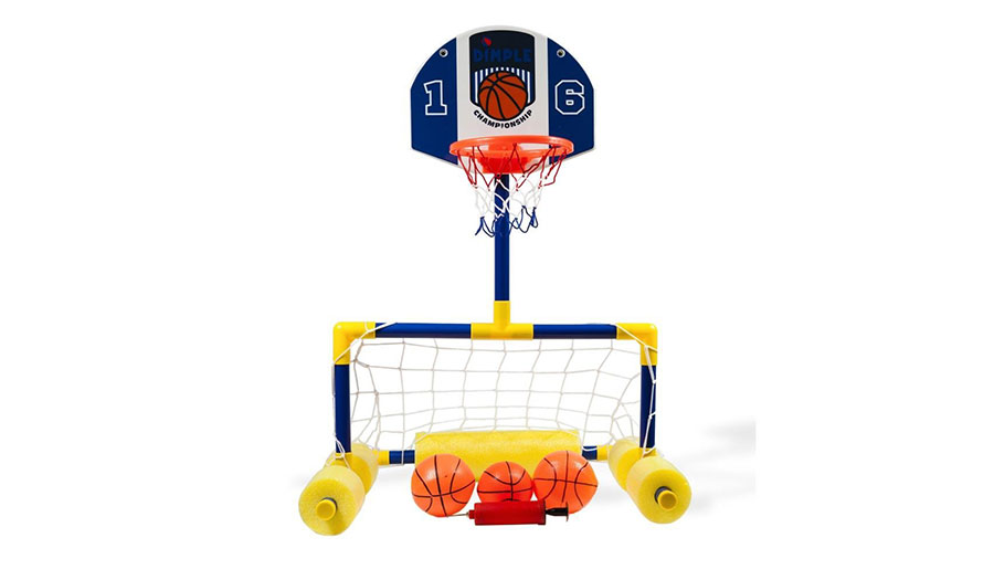 Dimple Multi Sport Floating Reinforced Basketball and Soccer Goal Pool Set