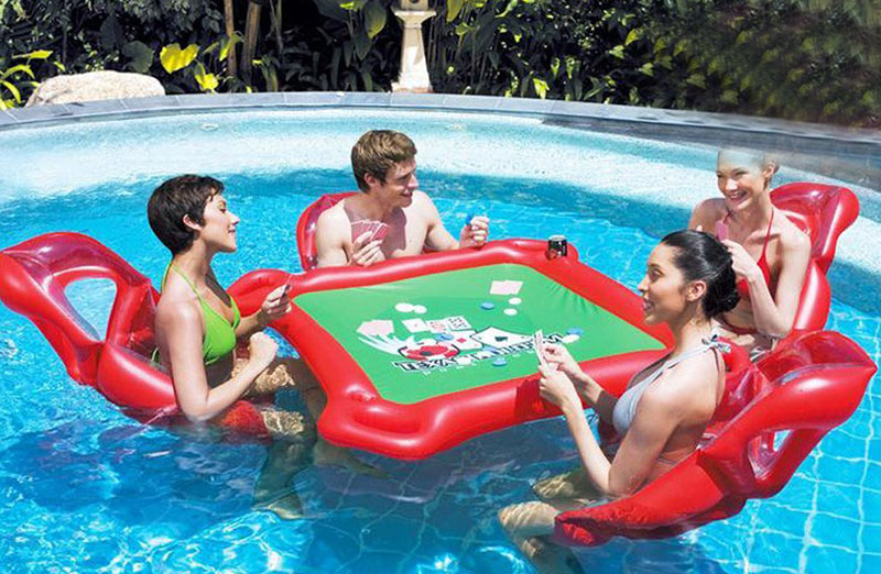 HOMEJU 4-Person Island Inflatable Water Group Pool Float
