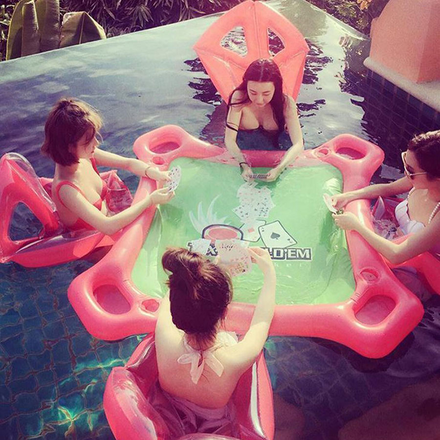 Inflatable Floating Poker Table for the Pool