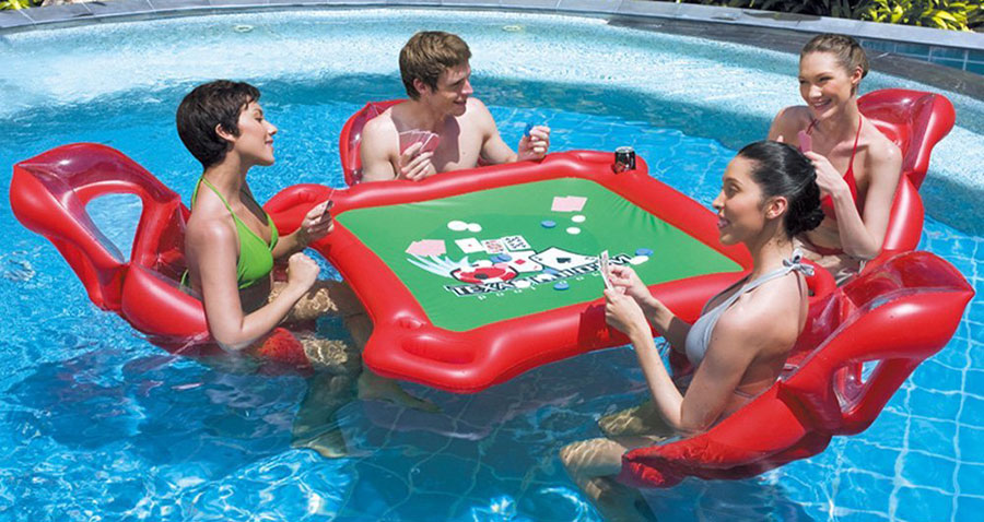 inflatable floating poker table for the pool with floating seats. Black Bedroom Furniture Sets. Home Design Ideas