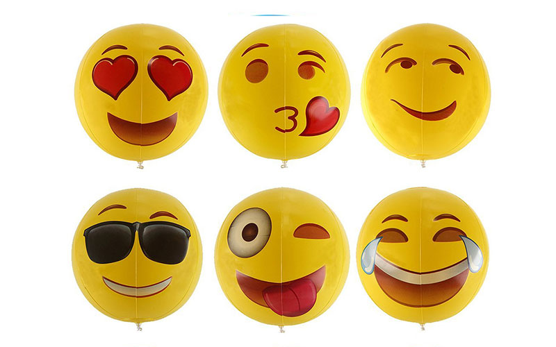 "Inflatable 12"" Emoji Design Beach Balls"